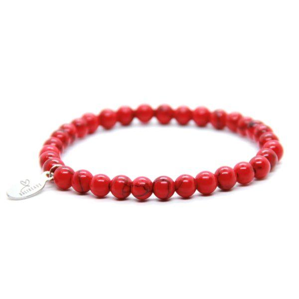 Natuursteen armband rood