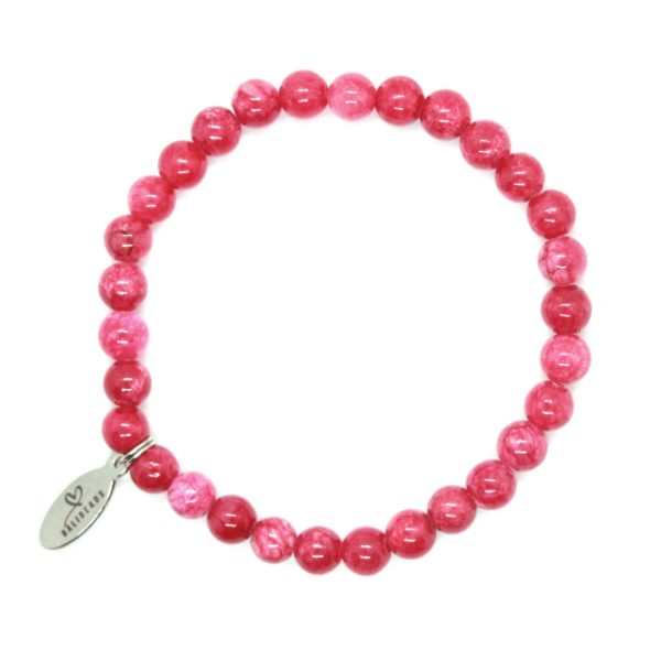 Natuursteen armband roze