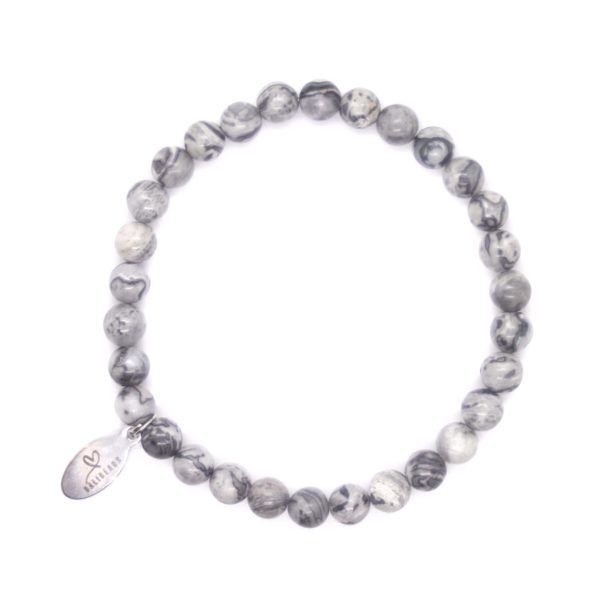 Natuursteen armband grijs