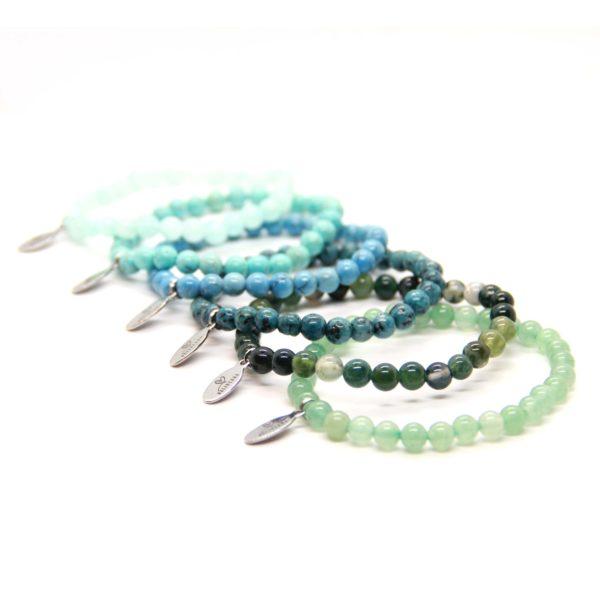 Natuursteen armband blauw groen