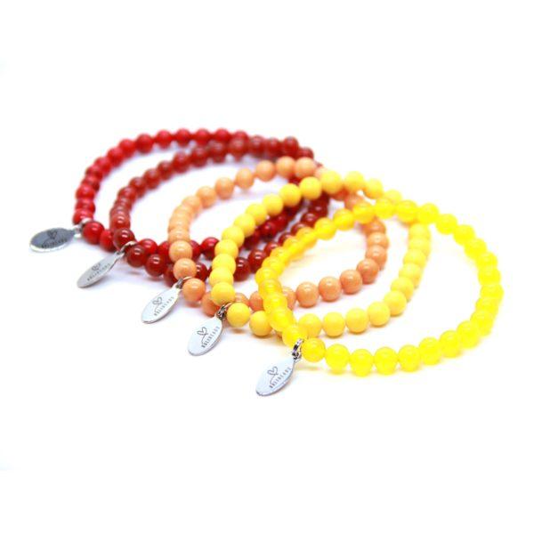 Natuursteen armband rood, oranje, geel