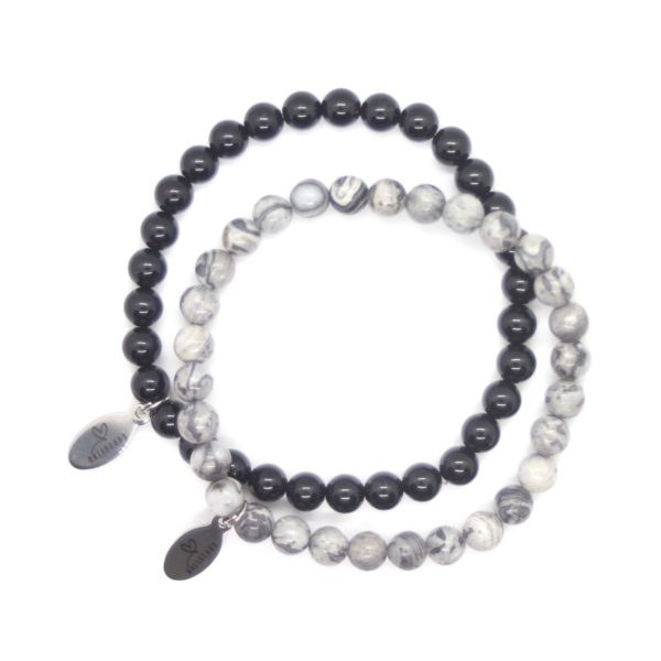 Natuursteen armband zwart, grijs