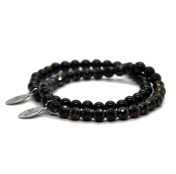 Natuursteen armband zwart setje