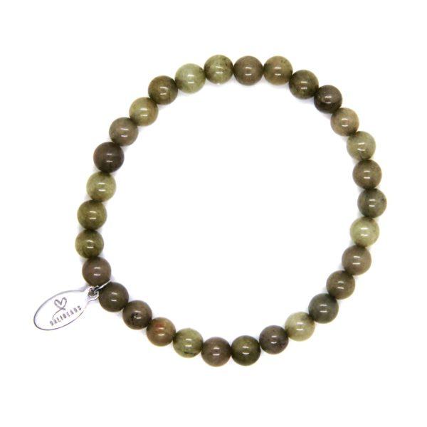 Natuursteen armband olijfgroen