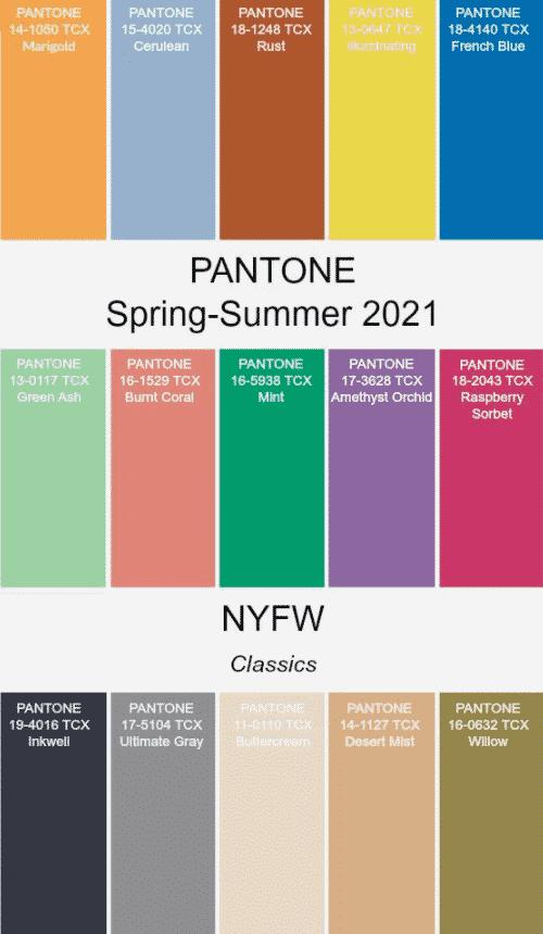 Modekleuren 2021, pantone